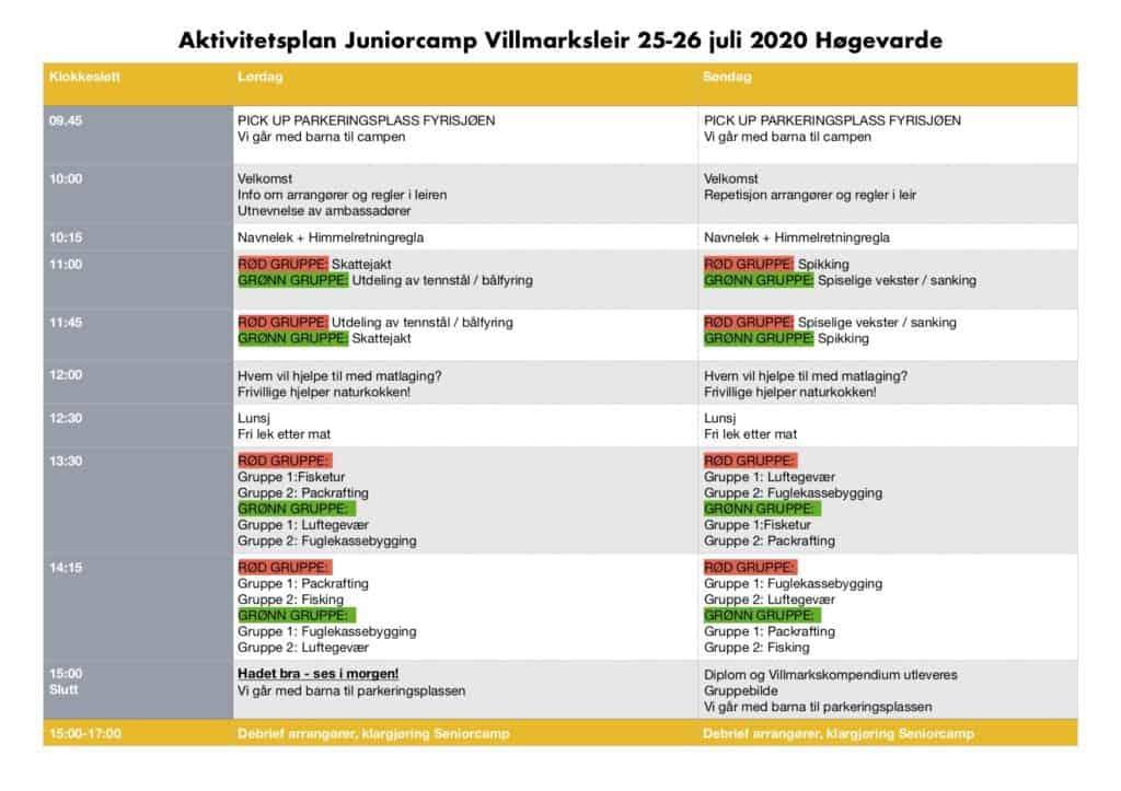 Aktivitetsplan Juniorcamp Villmarksleir Høgevarde 25. 26.juli 2020