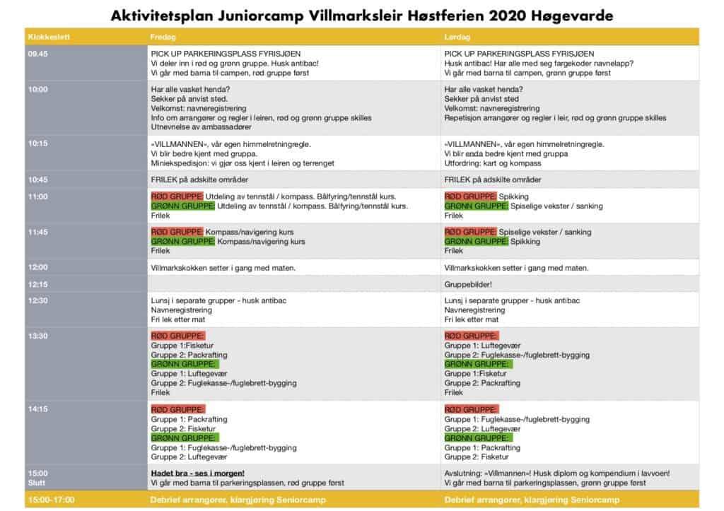 Aktivitetsplan Juniorcamp Villmarksleir Høgevarde Høstferien 2020