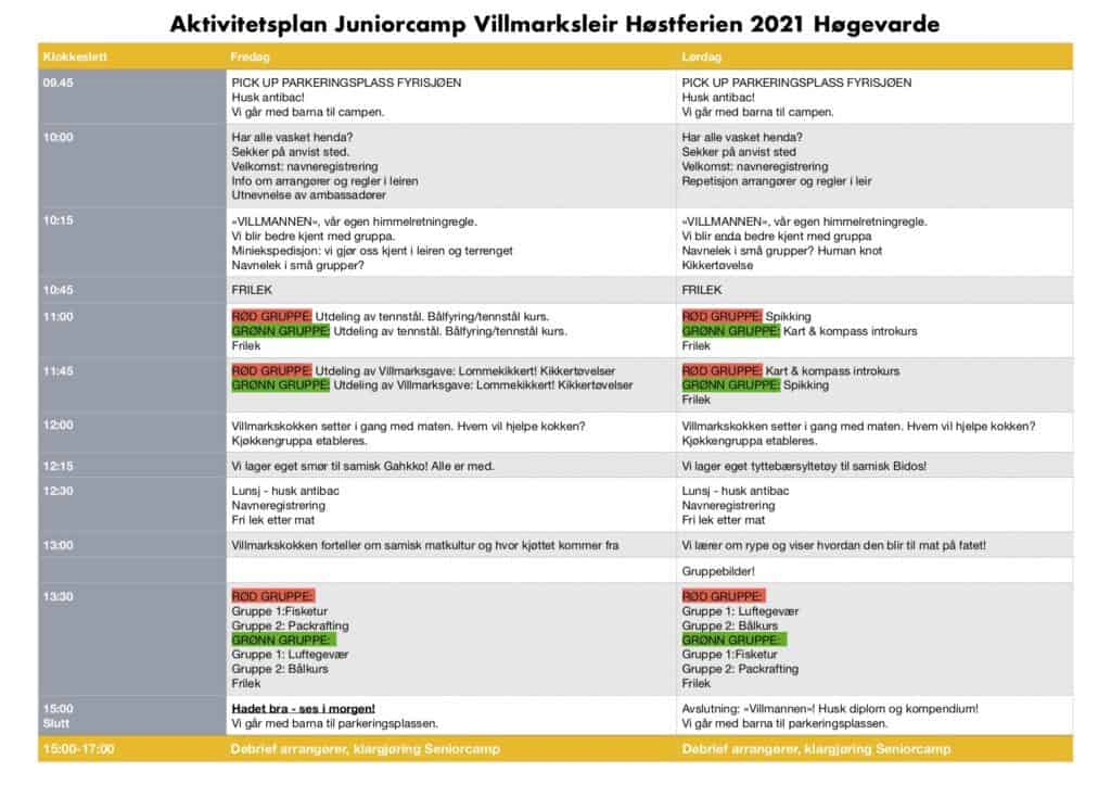 Aktivitetsplan Juniorcamp Villmarksleir Hogevarde Hostferien 2021